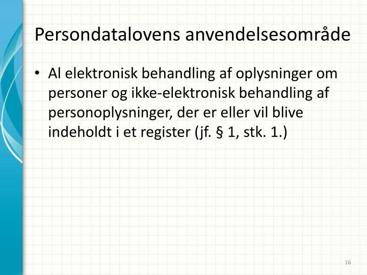 Persondatalovens anvendelsesområde