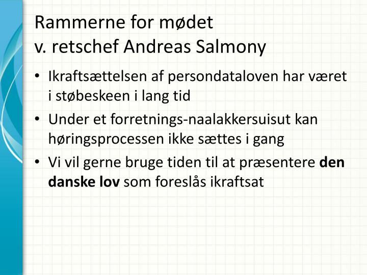 Rammerne for m det v r etschef andreas salmony