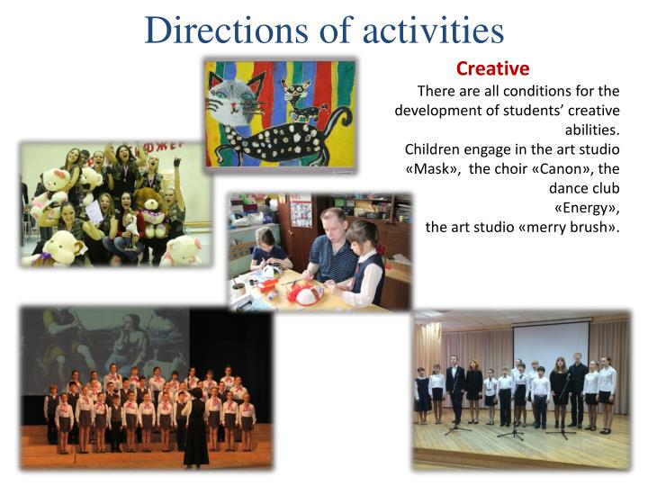 Directions of activities