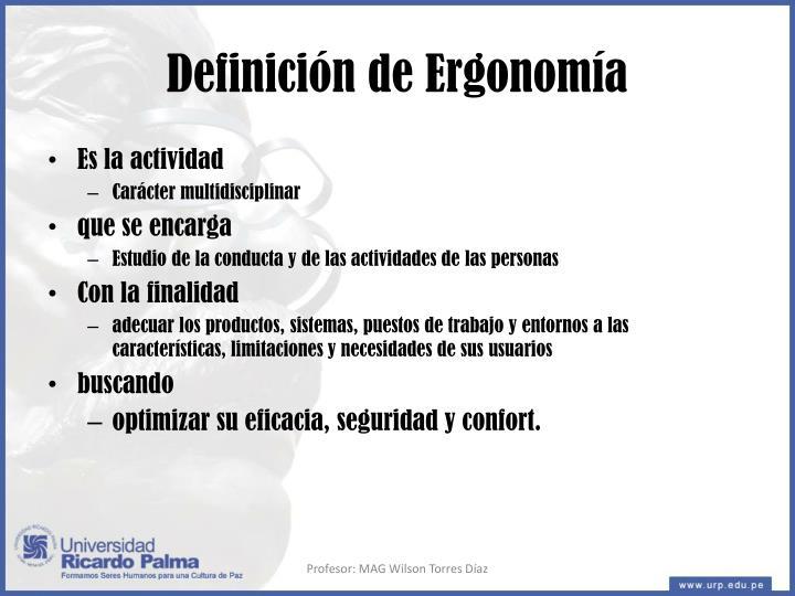 Definición de Ergonomía