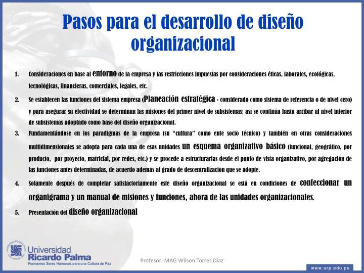 Pasos para el desarrollo de diseño organizacional