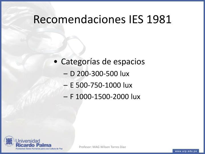 Recomendaciones IES 1981