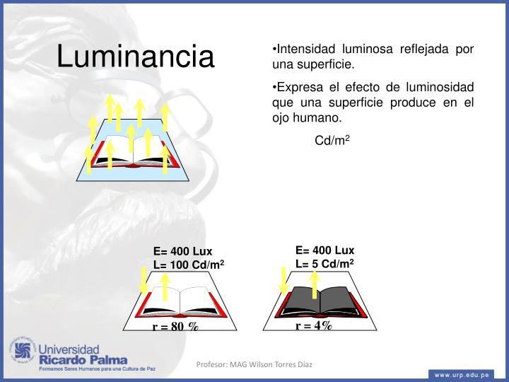 E= 400 Lux       L= 5 Cd/m