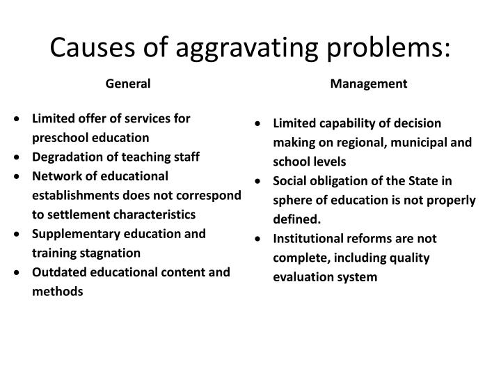 Causes of aggravating problems: