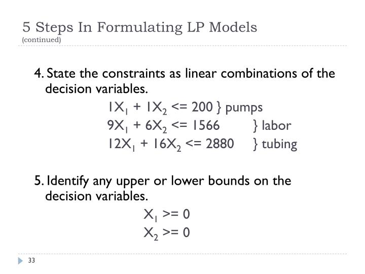 5 Steps In Formulating LP Models
