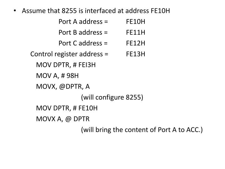 Assume that 8255 is interfaced at address FE10H