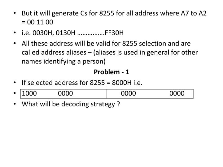 But it will generate Cs for 8255 for all address where A7 to A2 = 00 11 00