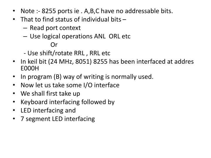 Note :- 8255 ports
