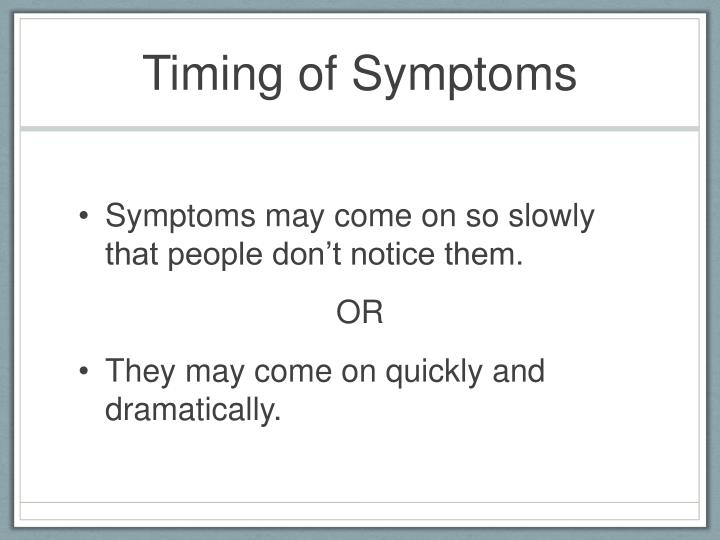 Timing of Symptoms
