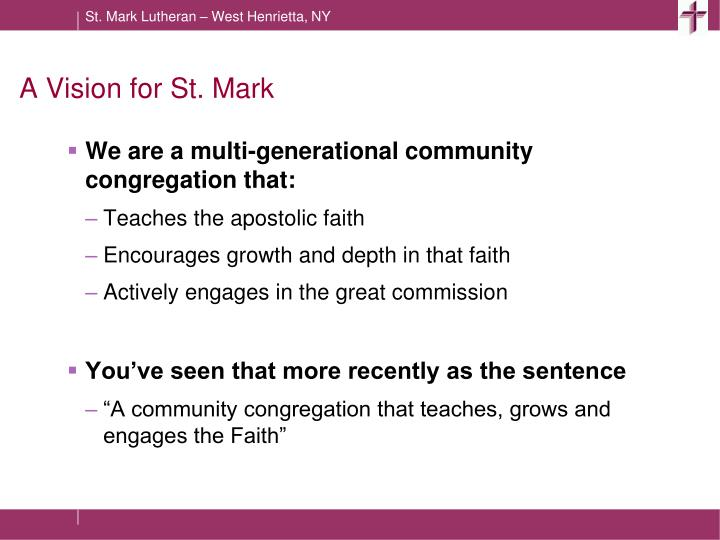 A Vision for St. Mark