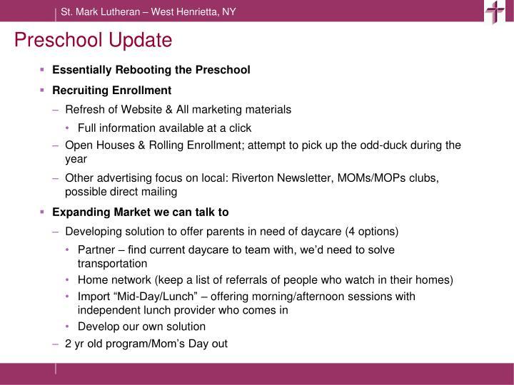 Preschool Update