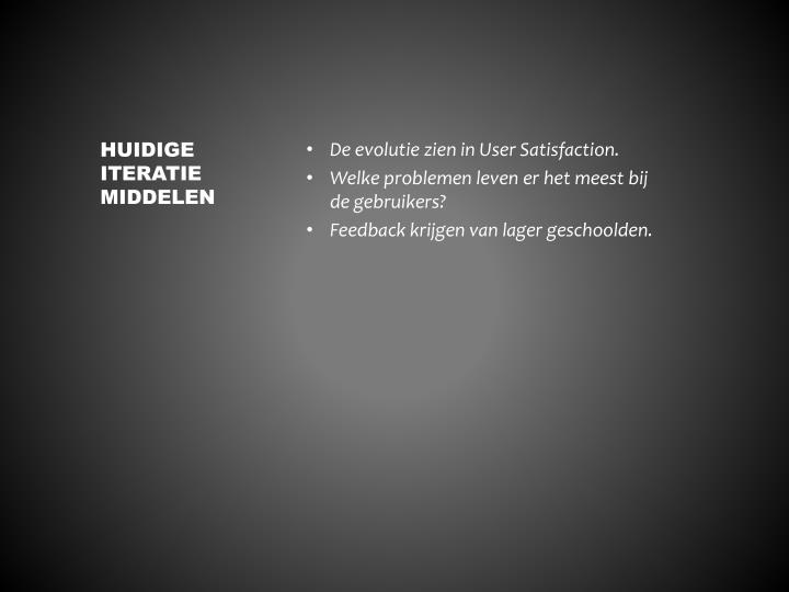 De evolutie zien in User Satisfaction