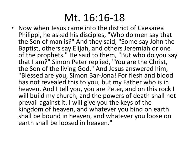 Mt. 16:16-18