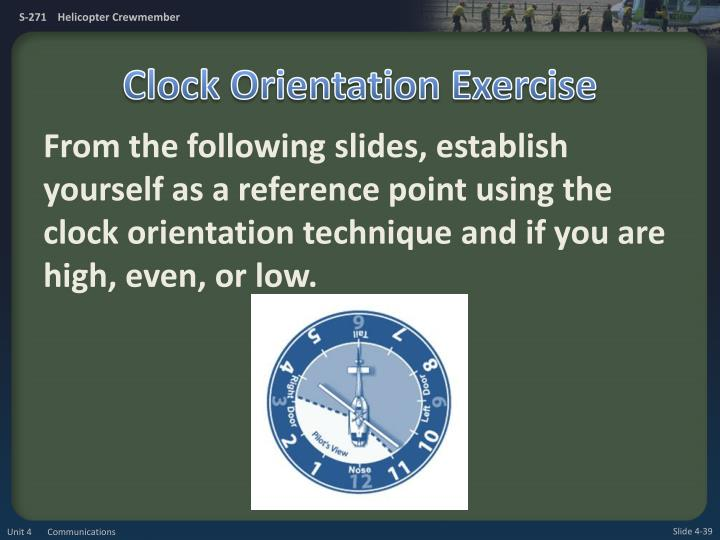 Clock Orientation Exercise