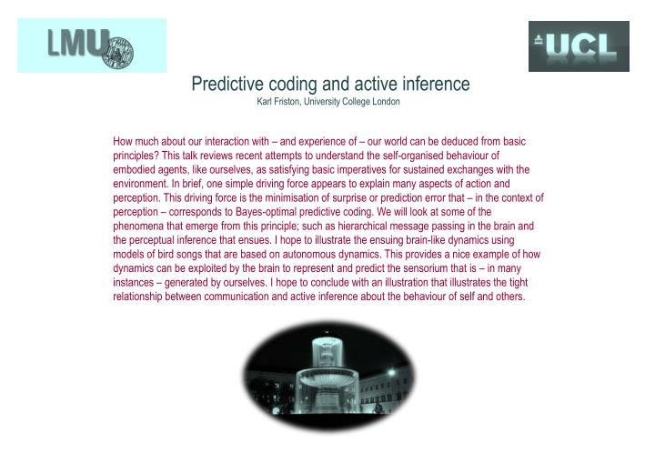 Predictive coding and active inference