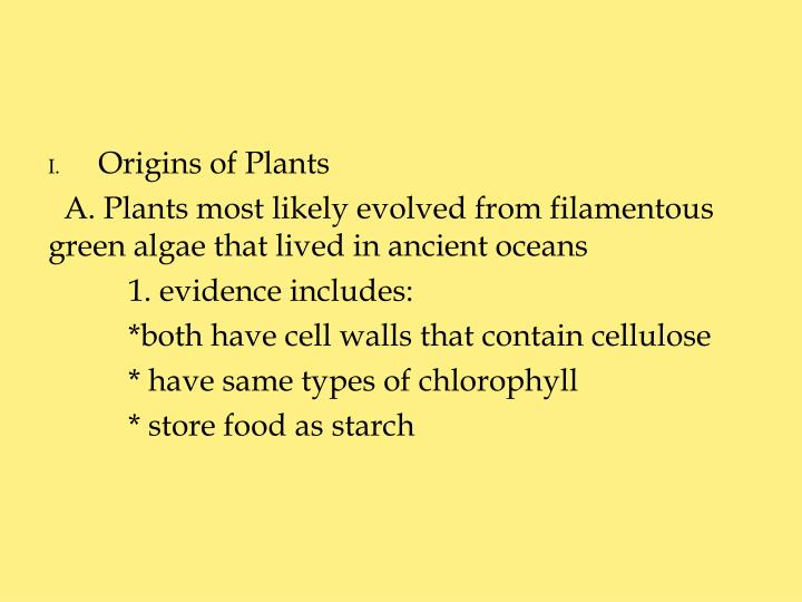 Origins of Plants