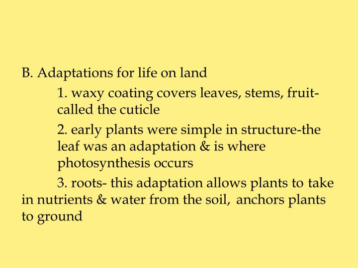 B. Adaptations for life on land