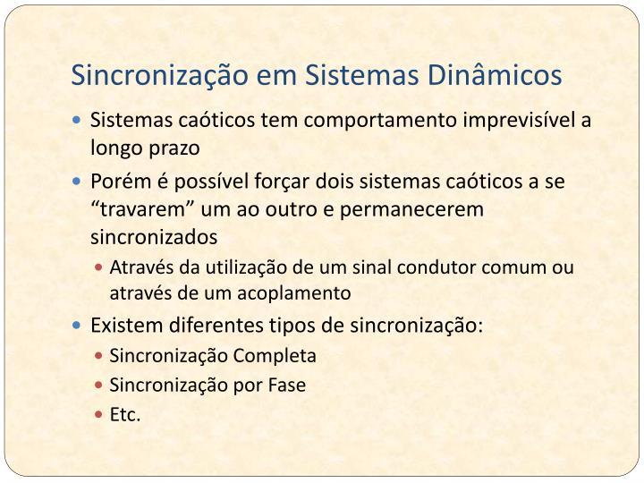 Sincronização em Sistemas Dinâmicos