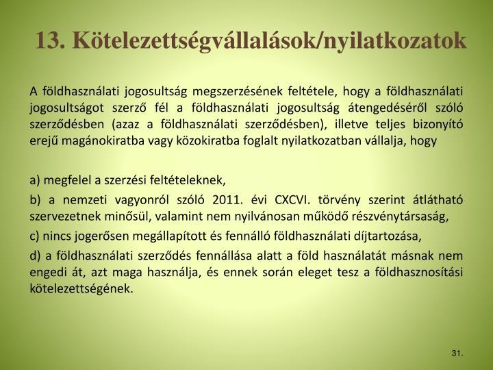 13. Ktelezettsgvllalsok/nyilatkozatok