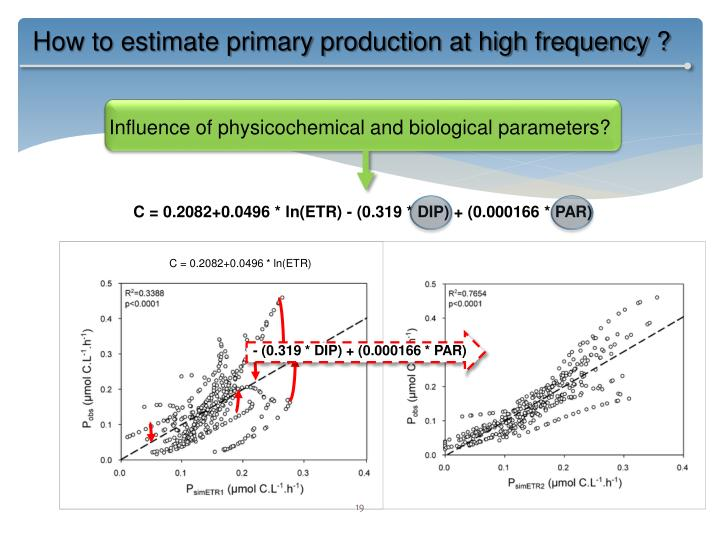 How to estimate primary production at high frequency ?