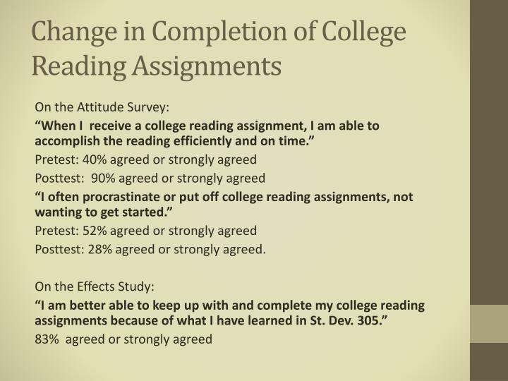 Change in Completion of College Reading Assignments