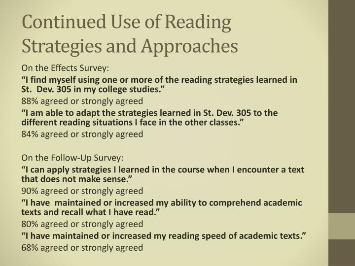 Continued Use of Reading Strategies and Approaches