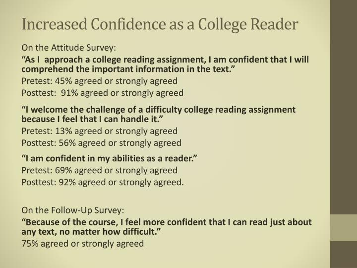 Increased Confidence as a College Reader