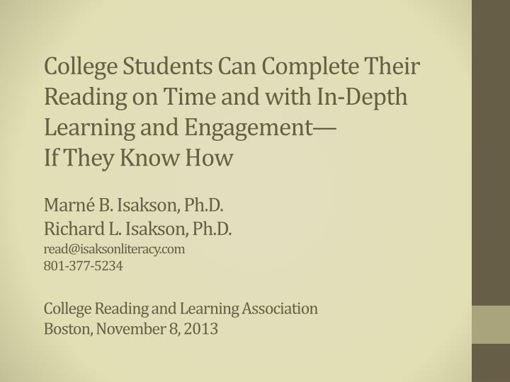 College Students Can Complete Their Reading on Time and with In-Depth Learning and Engagement—