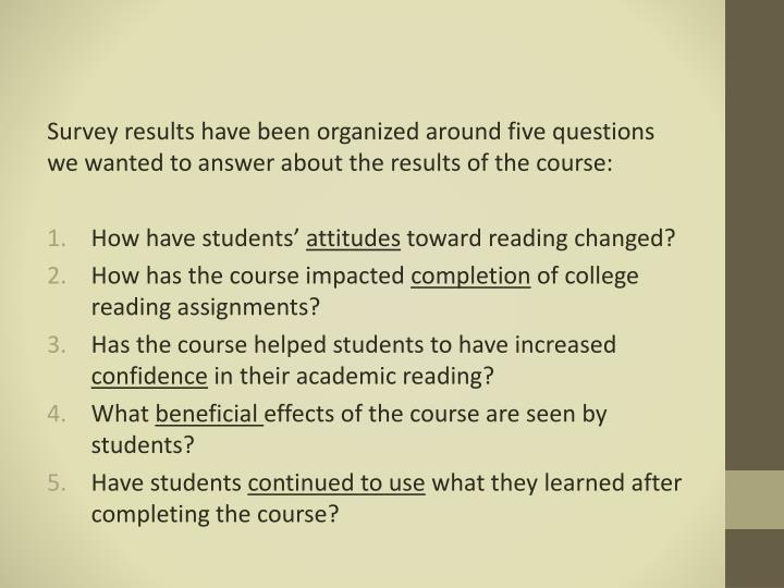Survey results have been organized around five questions we wanted to answer about the results of the course: