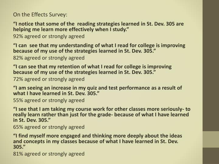 On the Effects Survey: