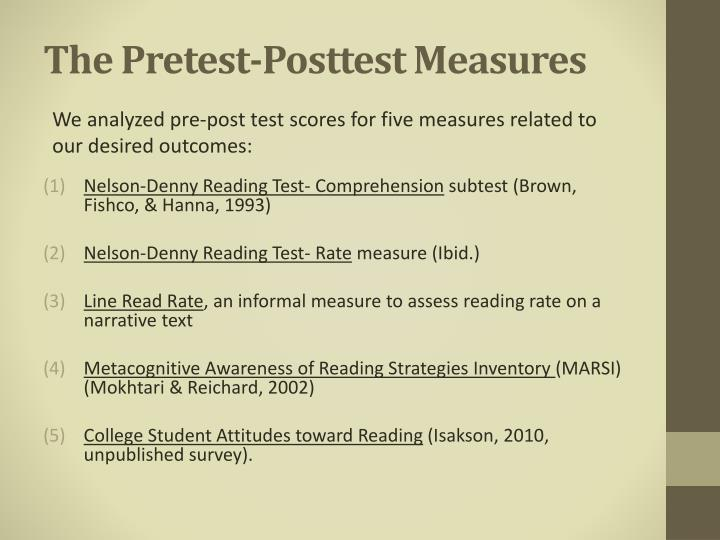 The Pretest-Posttest Measures
