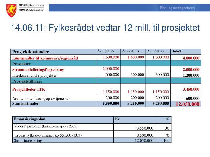 14.06.11: Fylkesrådet vedtar 12 mill. til prosjektet