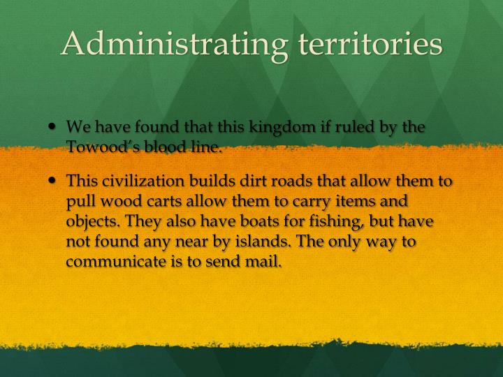 Administrating territories