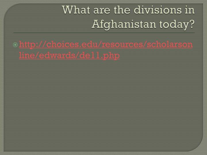 What are the divisions in Afghanistan today?