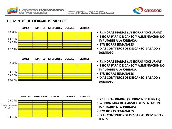 EJEMPLOS DE HORARIOS MIXTOS
