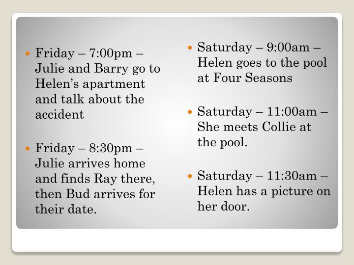 Friday – 7:00pm – Julie and Barry go to Helen's apartment and talk about the accident