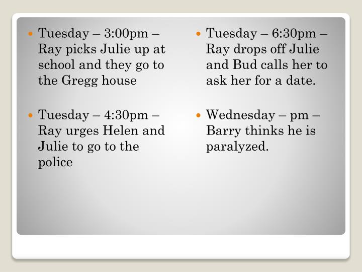 Tuesday – 3:00pm – Ray picks Julie up at school and they go to the Gregg house