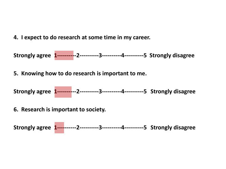 4.  I expect to do research at some time in my career.