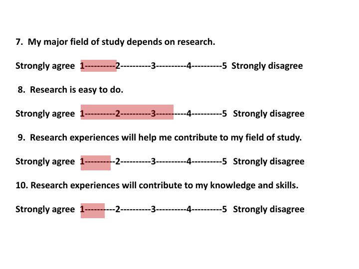 7.  My major field of study depends on research.