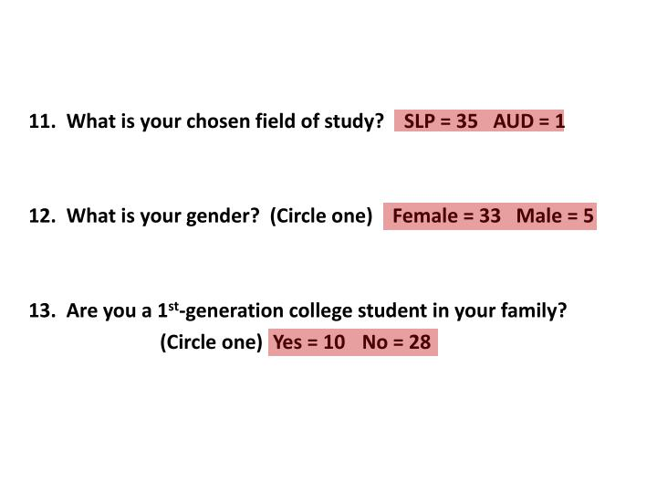 11.  What is your chosen field of study?    SLP = 35   AUD = 1