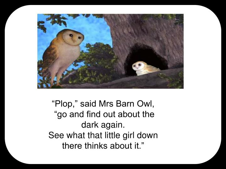 """Plop,"" said Mrs Barn Owl,"