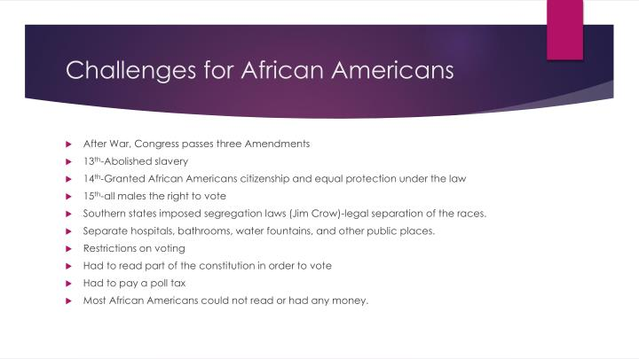 Challenges for African Americans