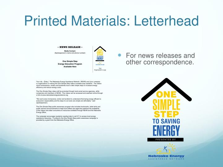 Printed Materials: Letterhead