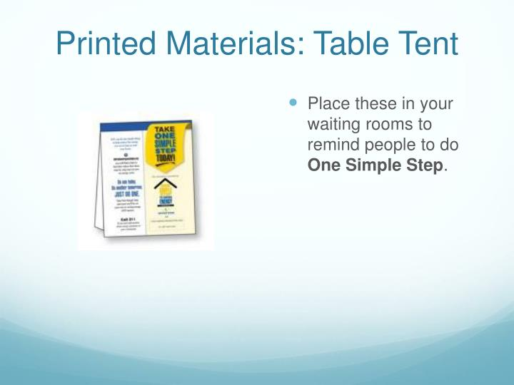 Printed Materials: Table Tent