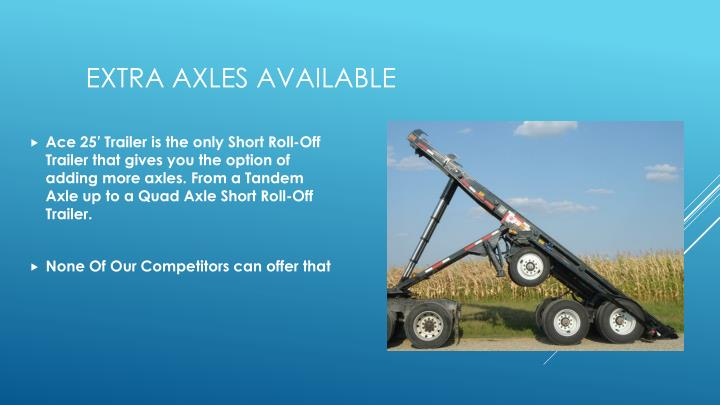 Ace 25′ Trailer is the only Short Roll-Off Trailer that gives you the option of adding more axles. From a