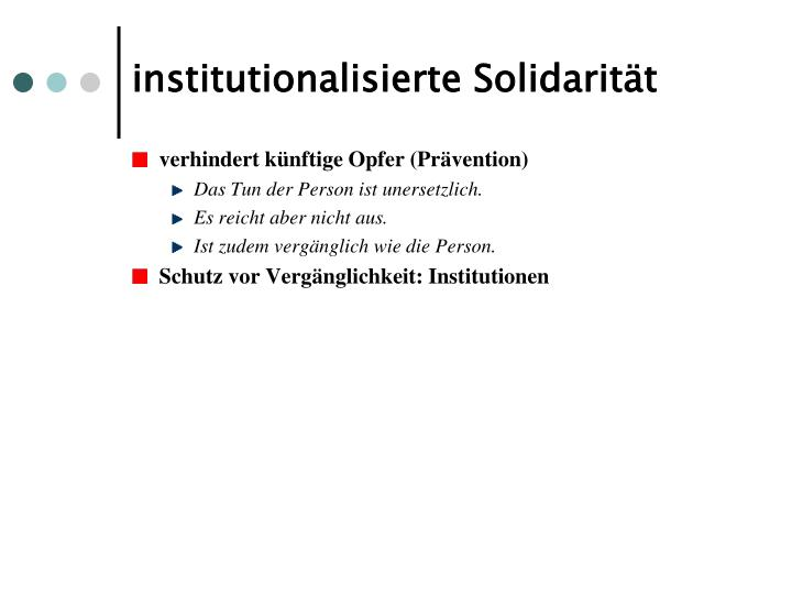 institutionalisierte Solidarität