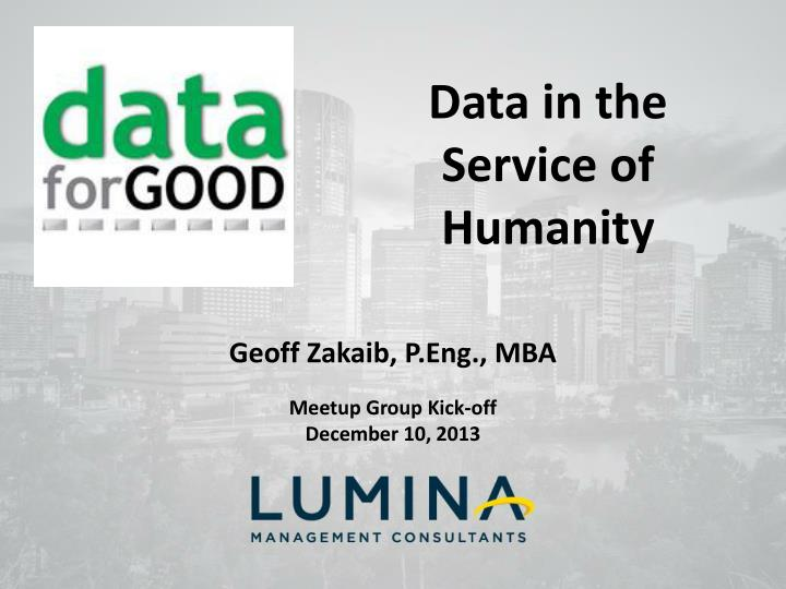 Data in the Service of Humanity