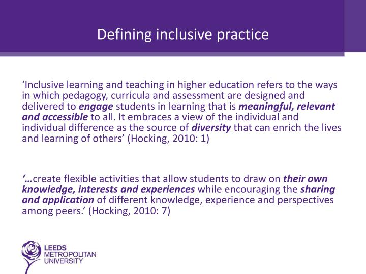 Defining inclusive practice
