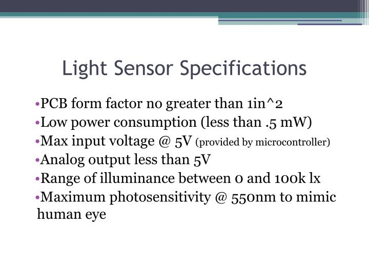 Light Sensor Specifications