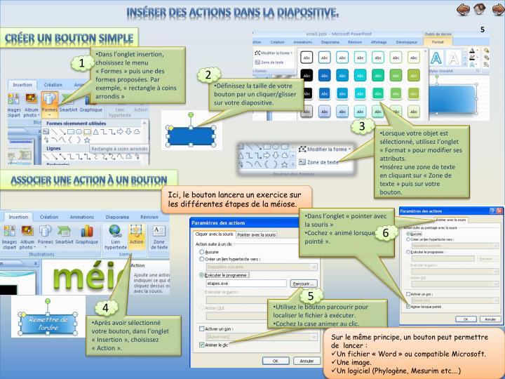 Insérer des actions dans la diapositive.